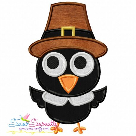 Crow Pilgrim Applique Design Pattern- Category- Fall And Thanksgiving- 1
