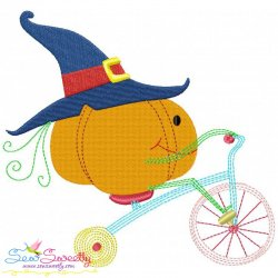Halloween Bike- Pumpkin Embroidery Design