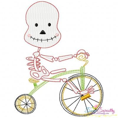 Halloween Bike- Skeleton Embroidery Design