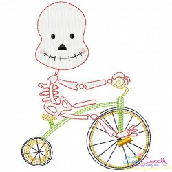Halloween Bike- Skeleton Embroidery Design