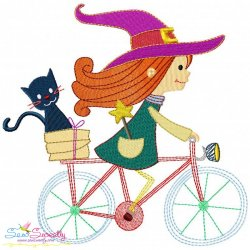 Halloween Bike- Cute Witch Embroidery Design