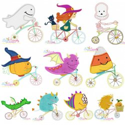 Halloween Bikes Embroidery Design Bundle