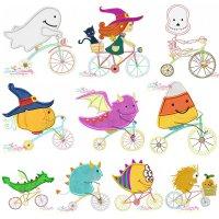 Halloween Bikes Machine Embroidery Design Bundle
