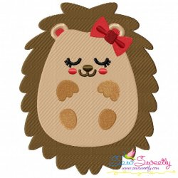 Hedgehog Girl Sleeping Embroidery Design
