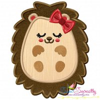 Hedgehog Girl Sleeping Applique Design