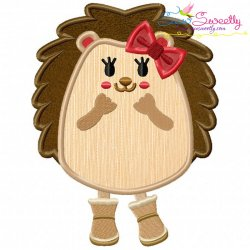 Hedgehog Girl Applique Design