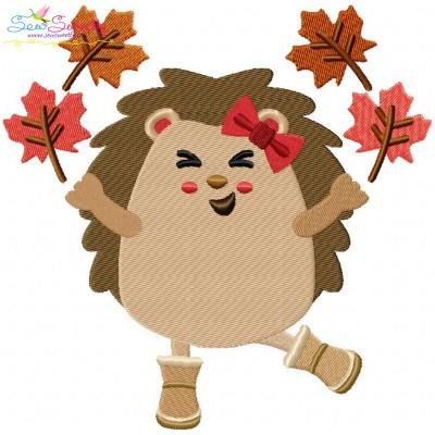 Hedgehog Girl Leaves Embroidery Design