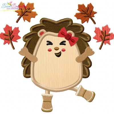 Hedgehog Leaves Applique Design