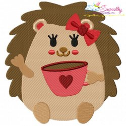 Hedgehog Girl With Coffee Embroidery Design