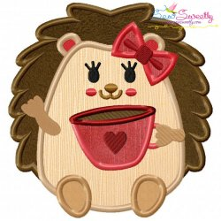 Hedgehog Coffee Applique Design