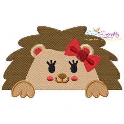 Hedgehog Girl Peeking Embroidery Design