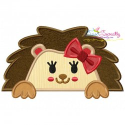 Hedgehog Girl Peeking Applique Design