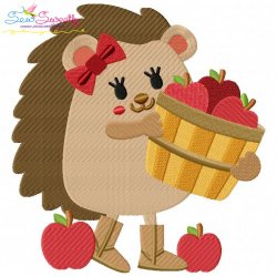 Hedgehog Girl Apples Embroidery Design