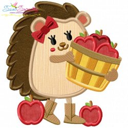 Hedgehog Apples Applique Design