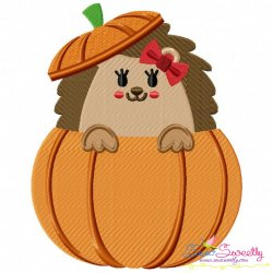 Hedgehog Girl Peeking Pumpkin Embroidery Design