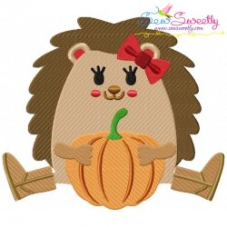 Hedgehog Girl Pumpkin Embroidery Design