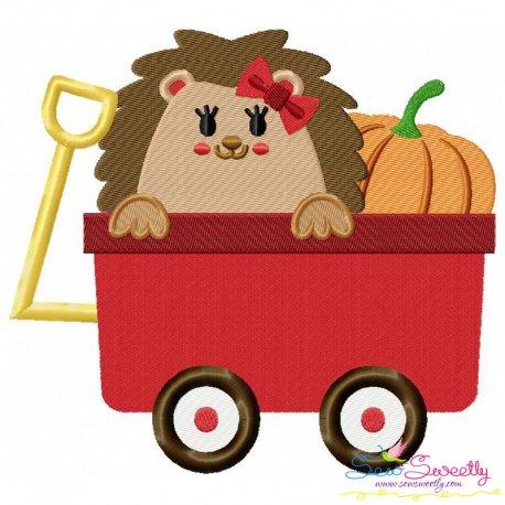 Hedgehog Wagon Embroidery Design