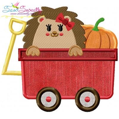 Hedgehog Girl Wagon Applique Design