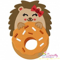 Hedgehog Girl Doughnut Embroidery Design