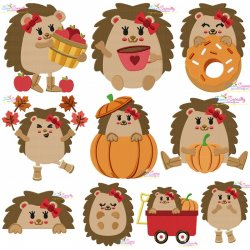 Fall Hedgehogs Girl Embroidery Design Bundle-Fill Stitch