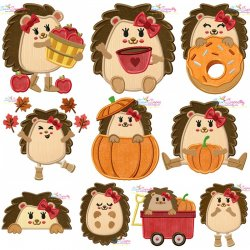 Fall Hedgehogs Girl Applique Design Bundle