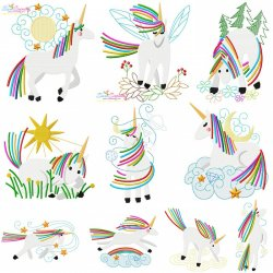 Artistic Unicorns Embroidery Design Bundle