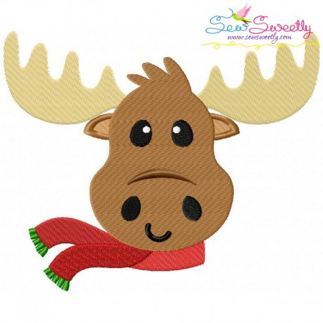 Christmas Moose Embroidery Design