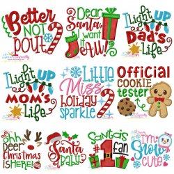 Christmas Lettering Embroidery Design Bundle