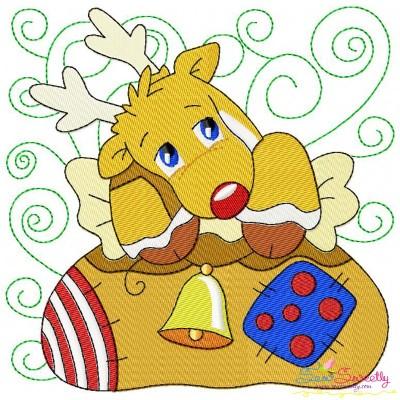 Christmas Block- Deer Embroidery Design
