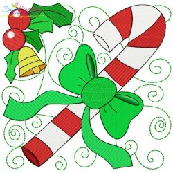 Christmas Block- Candy Cane Embroidery Design