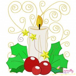 Christmas Block- Candle Embroidery Design