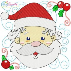 Christmas Block- Santa Face Embroidery Design