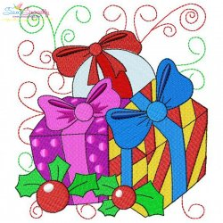 Christmas Block- Gifts Embroidery Design