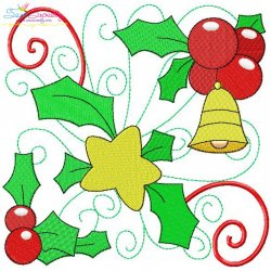 Christmas Block- Bell And Star Embroidery Design