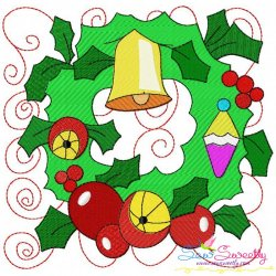 Christmas Block- Wreath Embroidery Design