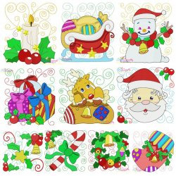 Christmas Blocks Embroidery Design Bundle