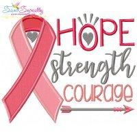 Hope Strength Courage Ribbon Applique Design