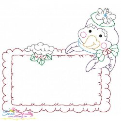 Vintage Stitch Christmas Frame-8 Embroidery Design