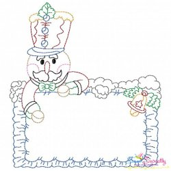 Vintage Stitch Christmas Frame-7 Embroidery Design
