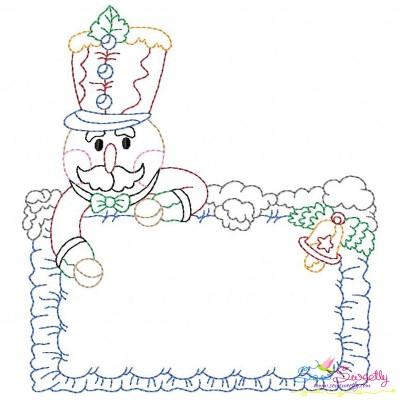 Vintage Stitch Christmas Frame-7 Embroidery Design
