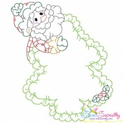 Vintage Stitch Christmas Frame-6 Embroidery Design