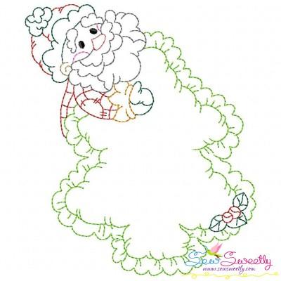 Vintage Stitch Christmas Frame-6 Embroidery Design