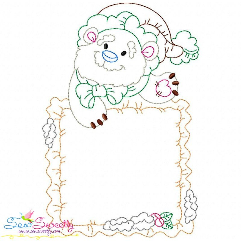 Vintage stitch christmas frame embroidery design for
