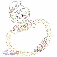 Vintage Stitch Christmas Frame-3 Embroidery Design