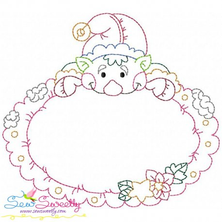 Vintage Stitch Christmas Frame-2 Embroidery Design