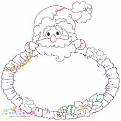 Vintage Stitch Christmas Frame-1 Embroidery Design