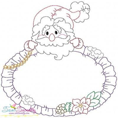 Vintage Stitch Christmas Frame-1 Embroidery Design