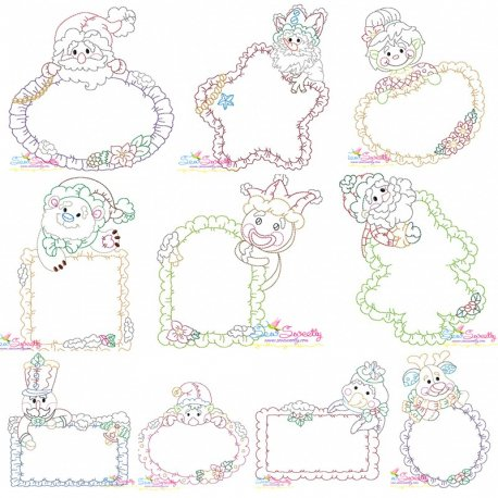 Vintage Stitch Christmas Frames Embroidery Design Bundle
