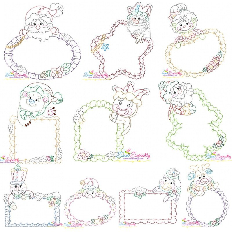Bean stitch christmas frames embroidery design bundle for