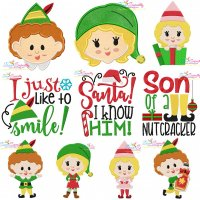 Christmas Elves And Lettering Embroidery Design Bundle